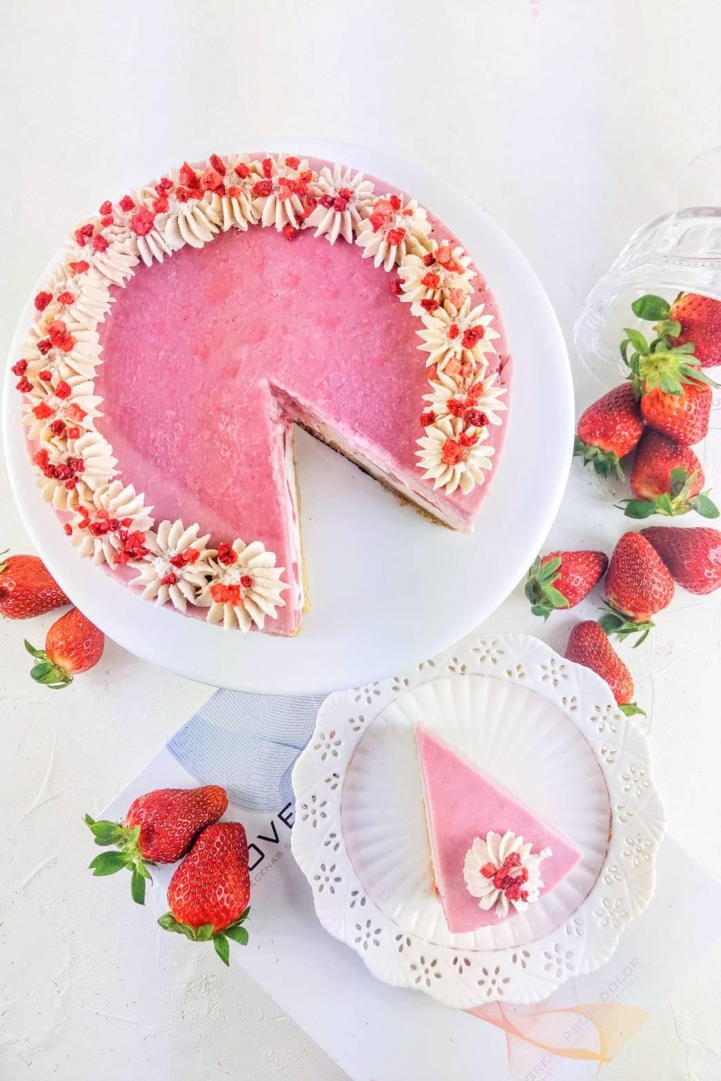 漸層草莓優格生乳酪(附淋醬)/6吋  #非素食#草莓#覆盆子#優格
