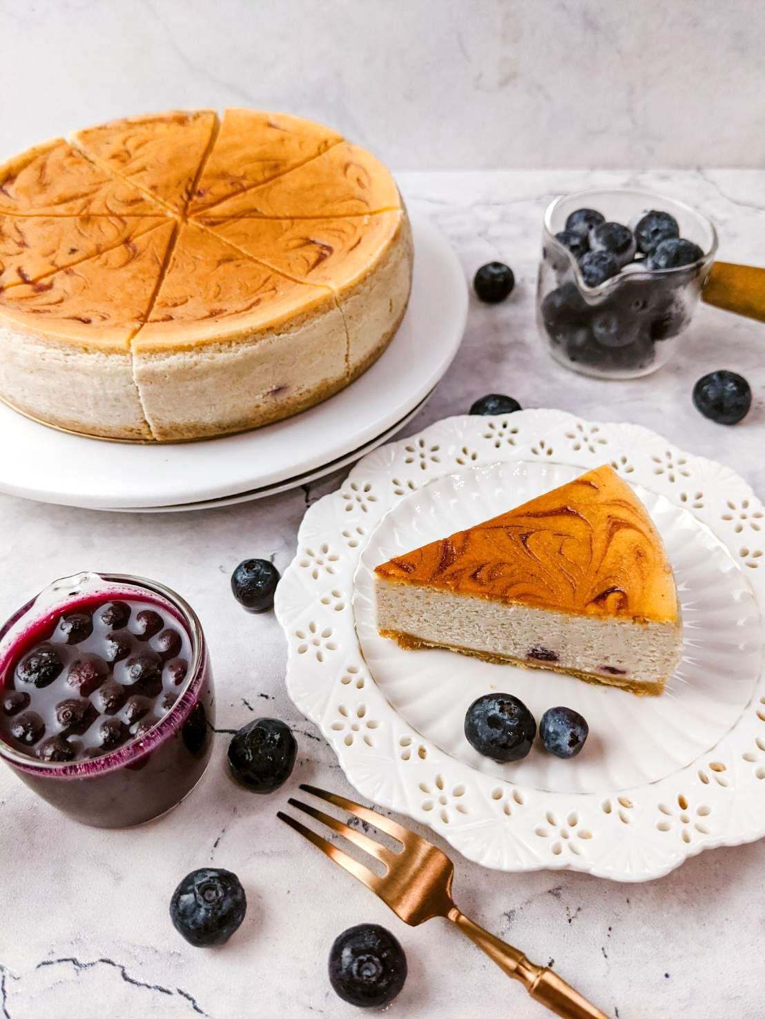 養生乳酪-果然好藍莓(附淋醬)/6吋重乳酪蛋糕  #蛋奶素#加拿大野莓